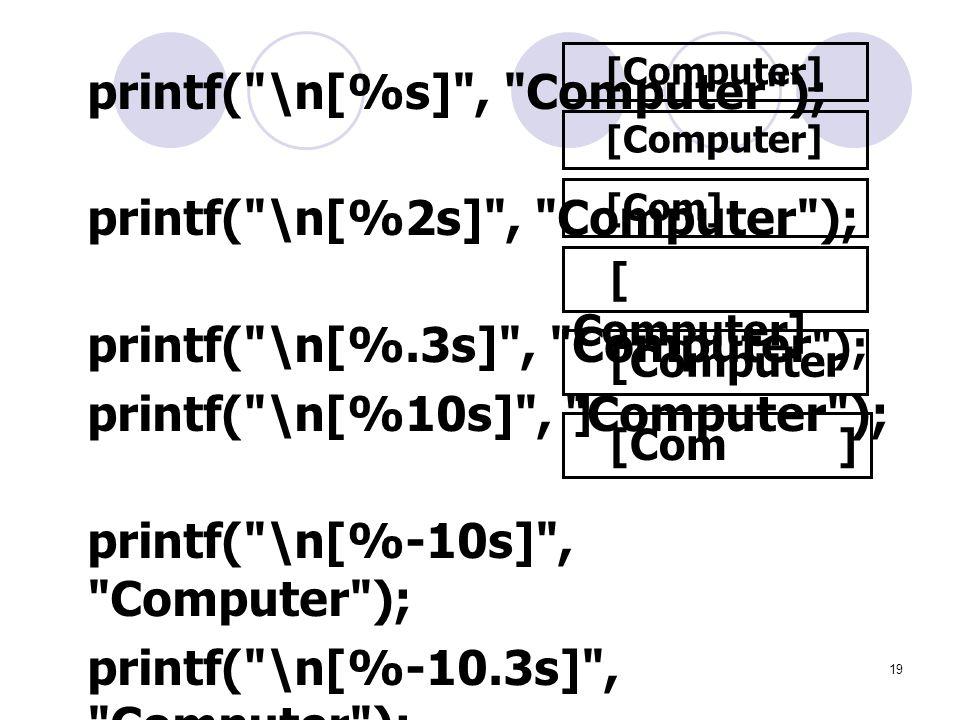 printf( \n[%2s] , Computer ); printf( \n[%.3s] , Computer );